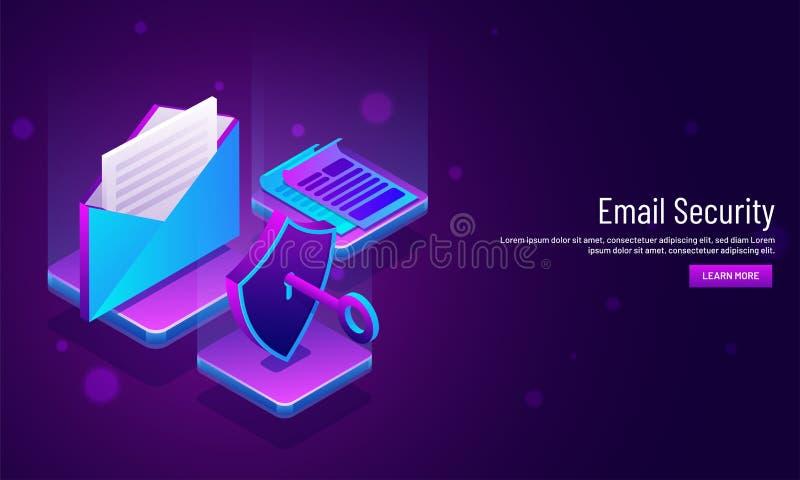 Le concept de sécurité d'email a basé la conception de calibre de Web avec l'illustrati illustration de vecteur
