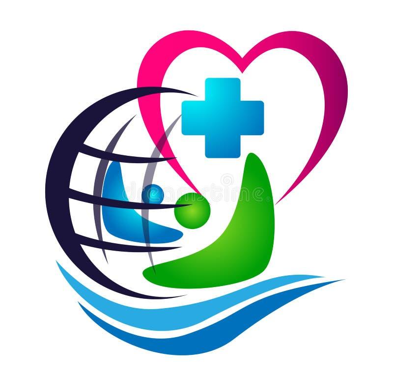 Le concept de santé de globe de soins médicaux et de famille de vague de mer dans l'élément d'icône de logo de coeur se connecten illustration stock