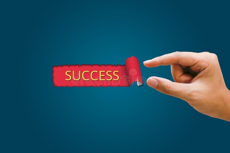 Le concept de succès, femmes d'affaires remettent tirer l'indication de papier bleu images libres de droits