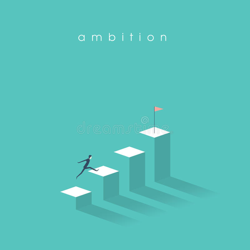 Le concept de vecteur d'ambition avec l'homme d'affaires sautent sur des colonnes de graphique Succès, accomplissement, symbole d illustration libre de droits