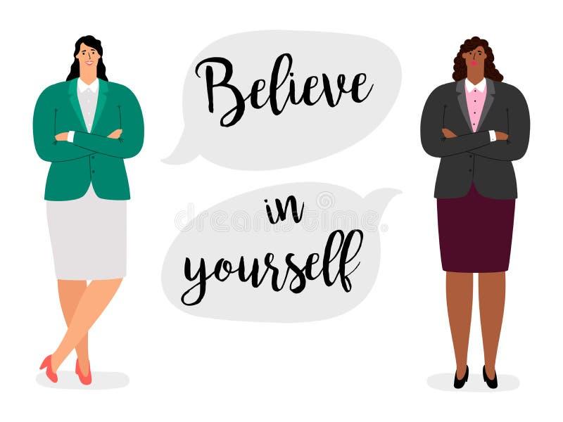 Le concept de vecteur de Feministic avec le texte croient en vous-même et deux femmes d'affaires internationales illustration stock