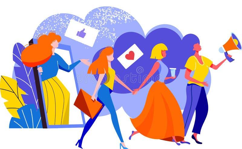 Le concept de vente de référence, se réfèrent un programme de fidélité d'ami, méthode de promotion Groupe de clients de femmes te illustration libre de droits
