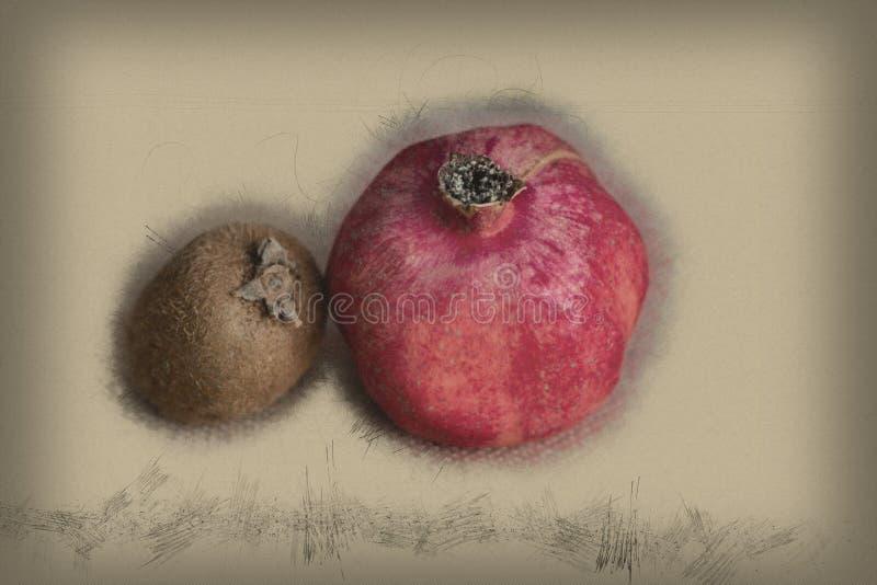 Le concept des fruits utiles pour prendre la nourriture ou le régime Kiwis et grenade rouge de fruit sur un fond brun illustration stock