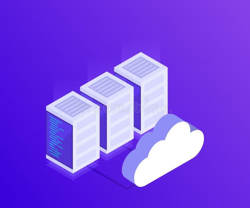 Le concept des managemen de réseau informatique opacifient des données de stockage et la synchronisation des dispositifs style 3D illustration stock
