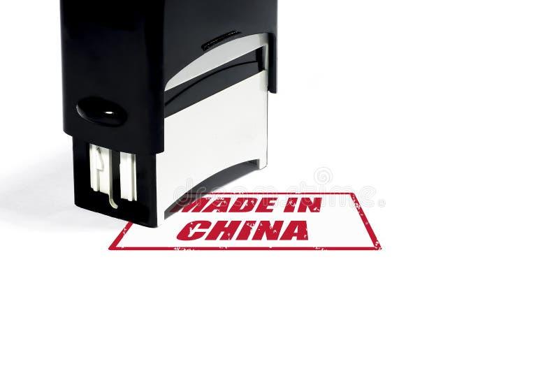 Le concept des mots faits dedans , un timbre avec une inscription rouge illustration de vecteur