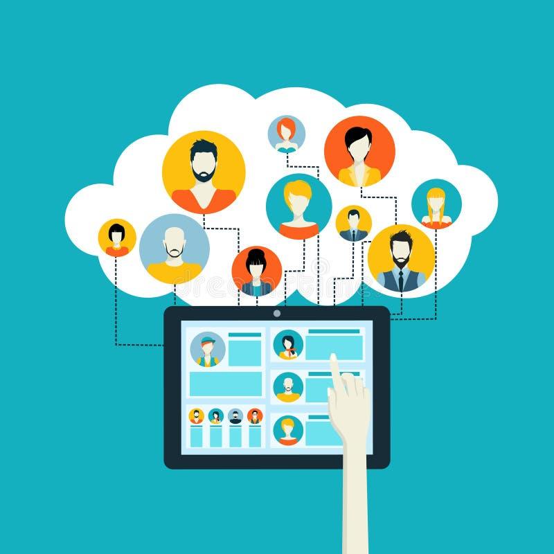 le concept a digitalement produit salut du social de recherche de réseau d'image illustration de vecteur