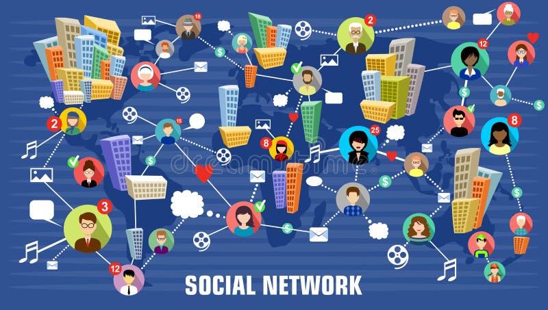le concept a digitalement produit salut du social de recherche de réseau d'image Style plat Conception d'Infographic illustration de vecteur