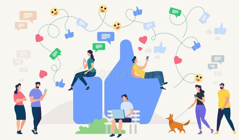 le concept a digitalement produit salut du social de recherche de réseau d'image Illustration de vecteur illustration de vecteur