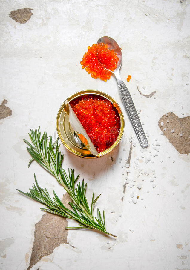 Le concept du caviar rouge Caviar rouge avec le romarin photos stock