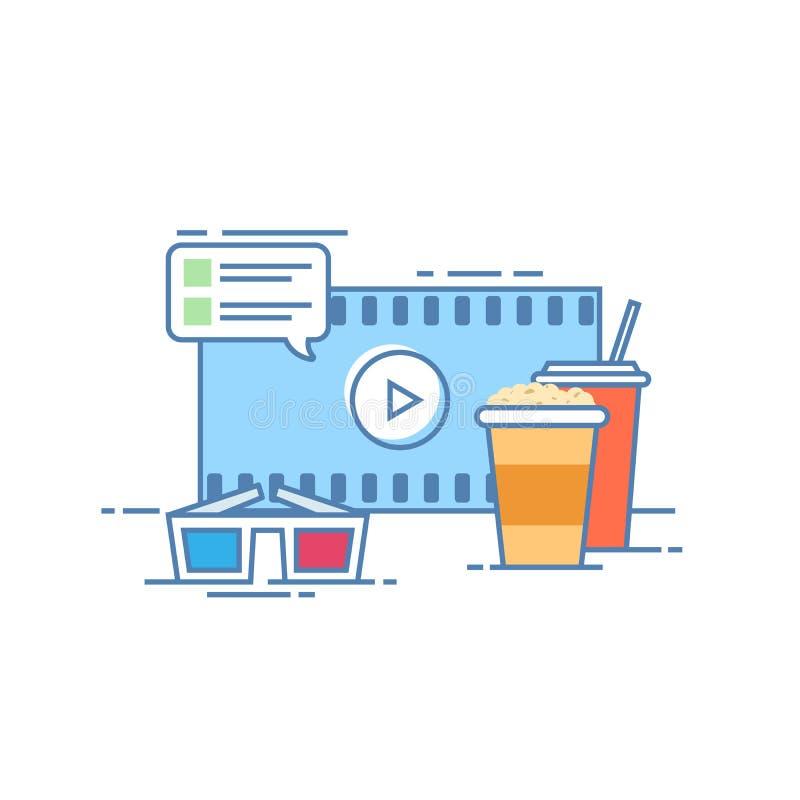 Le concept du cinéma en ligne Maïs éclaté et une boisson sur l'écran de fond Commentaires à un film Verres pour regarder dedans illustration stock
