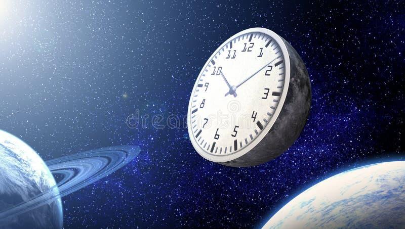 Le concept du temps La lune sous forme d'horloge contre illustration libre de droits