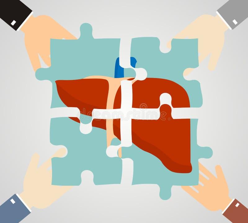 Le concept du traitement des affections hépatiques foie composé d'unité centrale illustration de vecteur