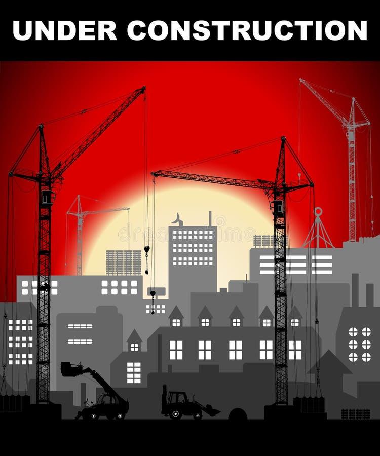 Le concept en construction dans le vintage européen industriel a dénommé la ville en construction sur le coucher du soleil rouge  illustration de vecteur