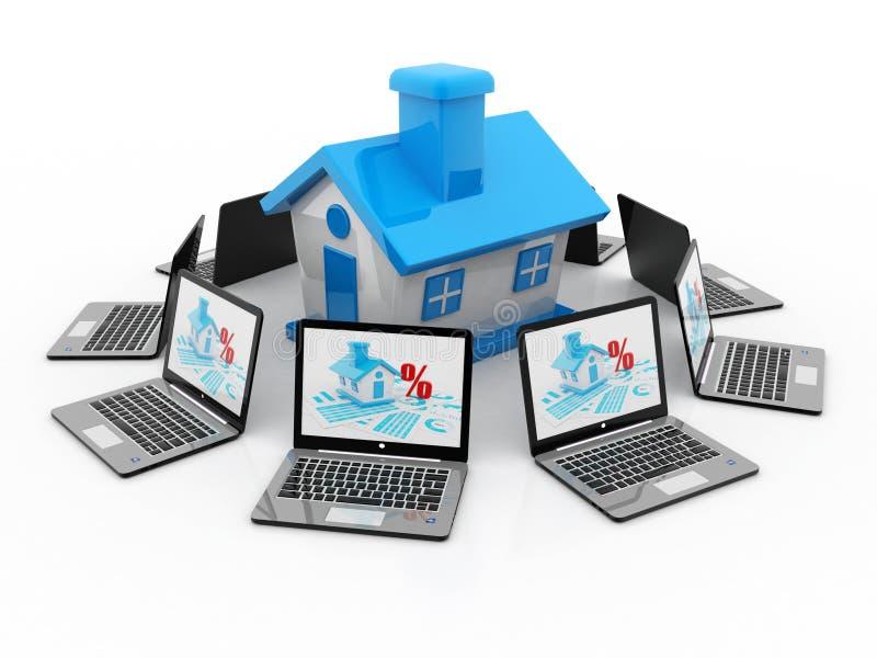 Le concept en ligne d'immobiliers, 3D rendent illustration stock