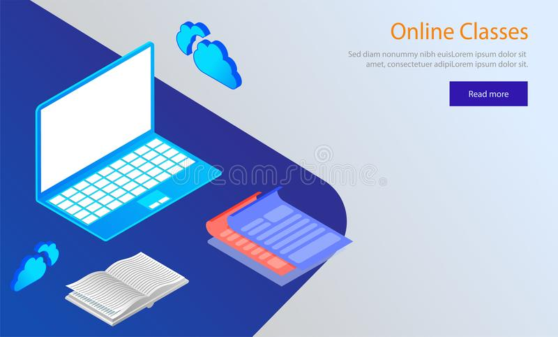 Le concept en ligne de classes a basé la conception de calibre de Web, illu isométrique illustration stock