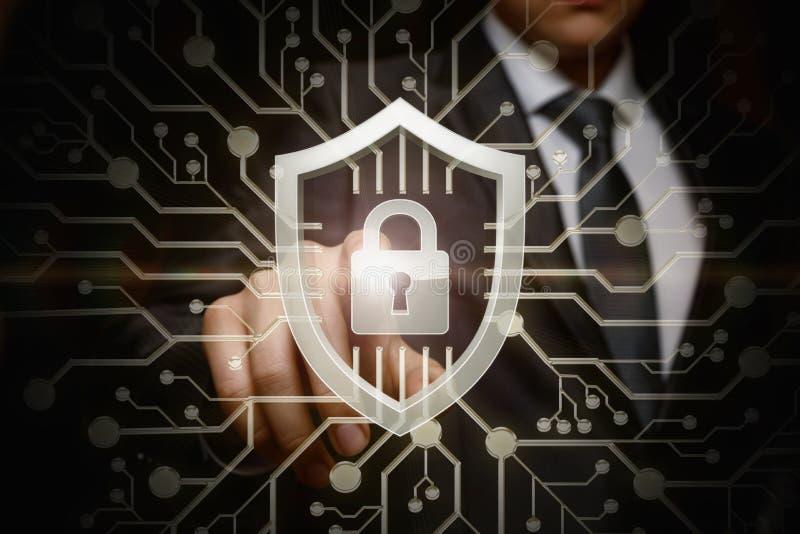 Le concept est la sécurité de systèmes composée des attaques de cyber illustration de vecteur