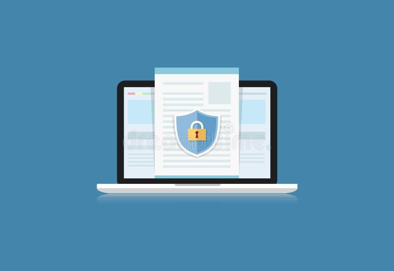 Le concept est protection des données Bouclier sur le bureau ou le Labtop p d'ordinateur illustration stock
