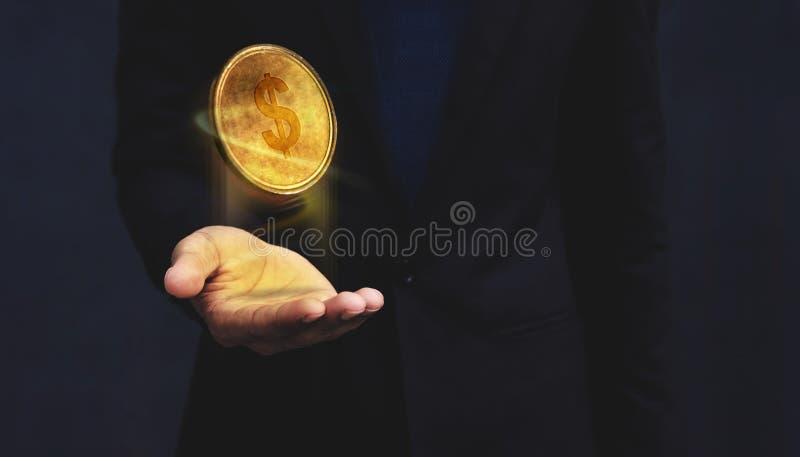 Le concept financier de soutien de soin ou d'argent, les dollars d'or inventent le flo photo stock