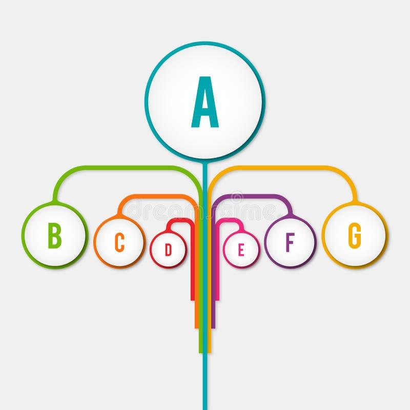 Le concept infographic d'éléments d'arbre abstrait de diagramme avec l'étape, humain, partie des éléments illustration de vecteur