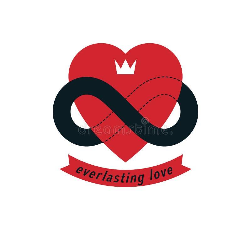 Le concept intemporel d'amour, symbole de vecteur a créé avec le signe de boucle d'infini illustration stock