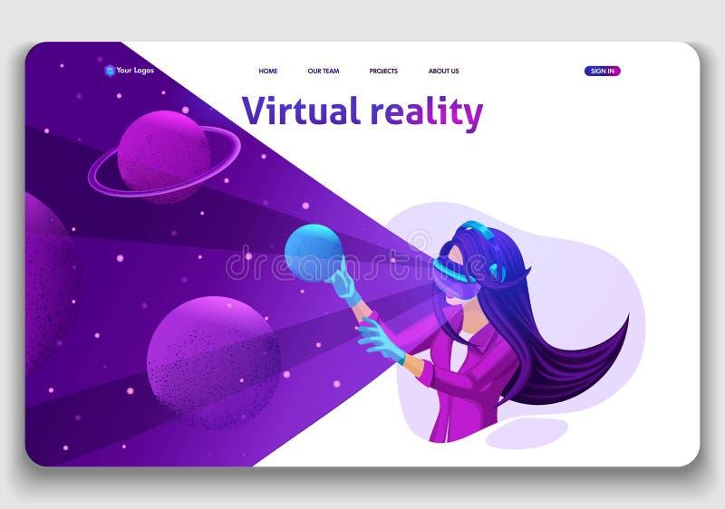 Le concept isométrique de page d'atterrissage de calibre de site Web de la réalité augmentée, la fille joue dans les yeux virtuel illustration de vecteur