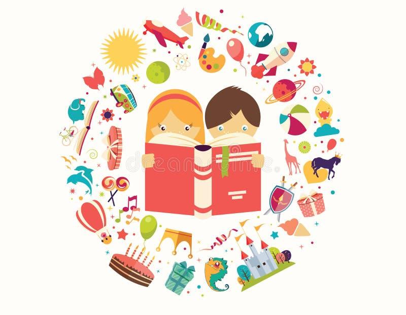 Le concept, le garçon et la fille d'imagination lisant un livre objecte le vol illustration libre de droits