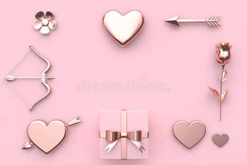 le concept métallique abstrait 3d de valentine rendre le boîte-cadeau d'arc de flèche de coeur de fleur a monté fond rose illustration libre de droits