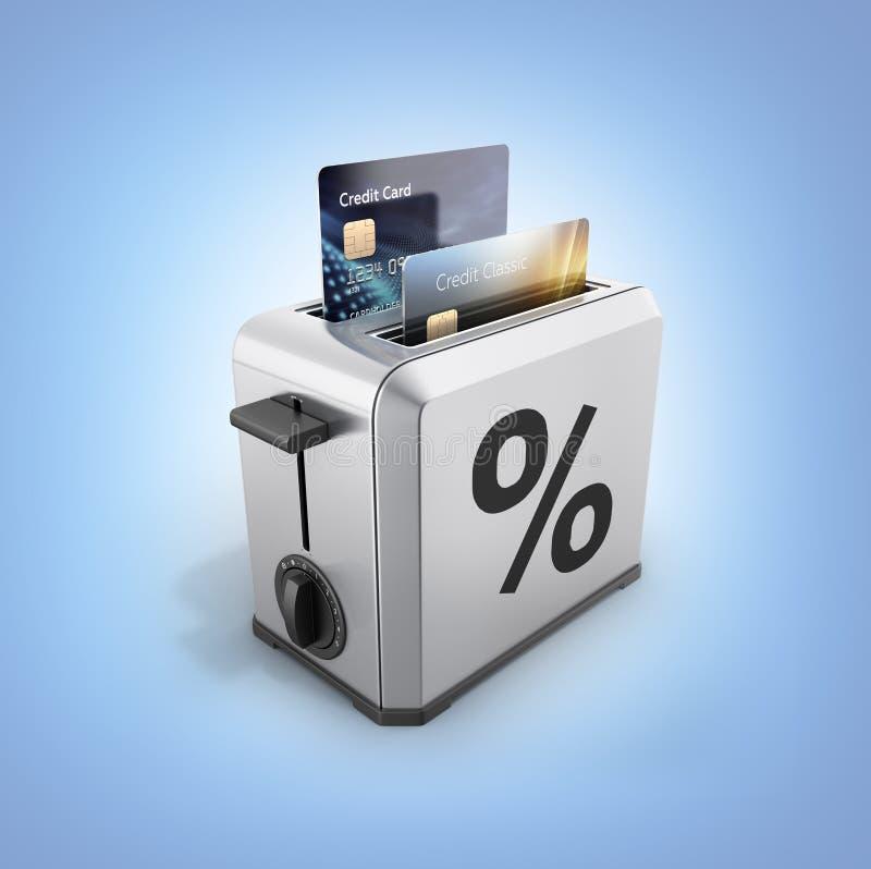 Le concept moderne des prêts rapides et les paiements des cartes de crédit dans le grille-pain des pour cent tirés d'isolement su illustration de vecteur