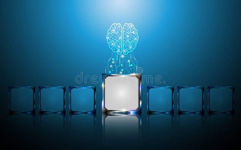 Le concept numérique créatif de cerveau et de puce soustraient le fond illustration libre de droits
