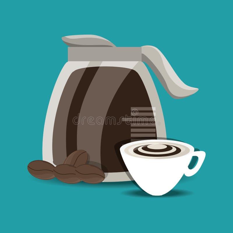Le concept plat de fabricant et de tasse de café dactylographie des boissons de café illustration libre de droits