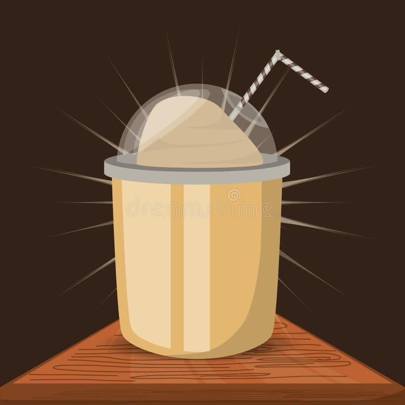 Le concept plat de milk-shake dactylographie des boissons de café illustration de vecteur