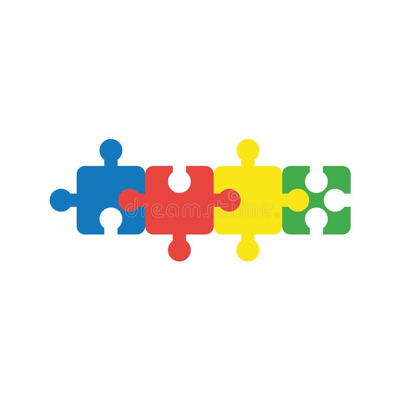 Le concept plat de vecteur de conception des morceaux à quatre parties de puzzle denteux escroquent illustration libre de droits