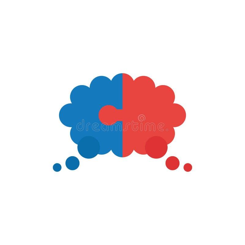 Le concept plat de vecteur de conception de deux morceaux déconcertent la bulle de pensée illustration de vecteur