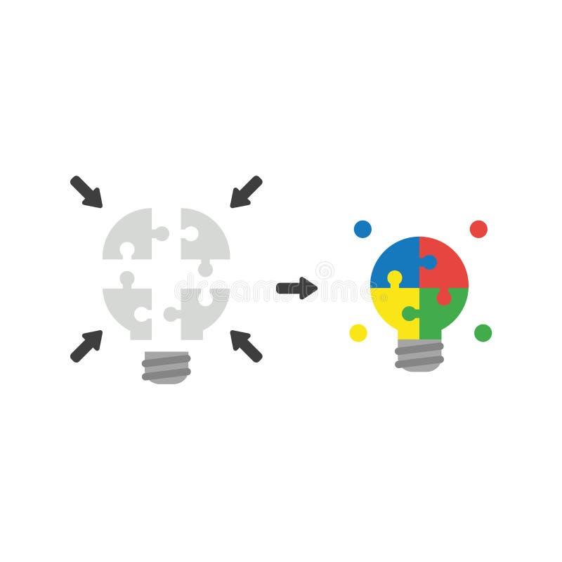 Le concept plat de vecteur de conception de l'ampoule de morceaux de puzzle unissent et illustration de vecteur