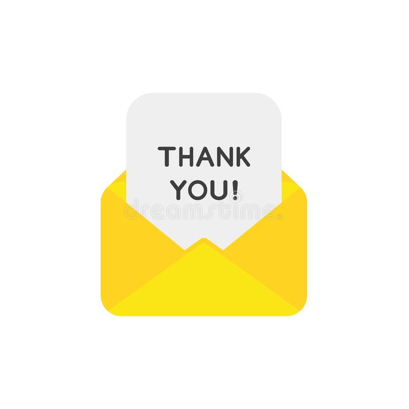 Le concept plat de vecteur de conception de l'enveloppe ouverte avec vous remercient sur la PA illustration de vecteur