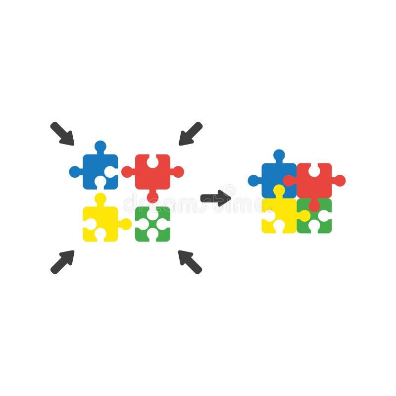 Le concept plat de vecteur de style de conception du puzzle à quatre parties rapièce des conn. illustration stock