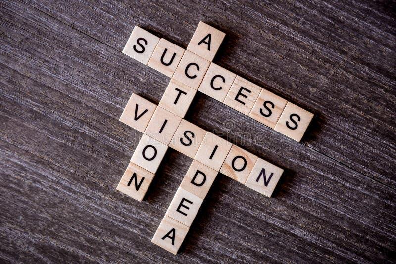 Le concept a présenté par des mots croisé avec l'idée de mots, vision, l'action a photographie stock libre de droits
