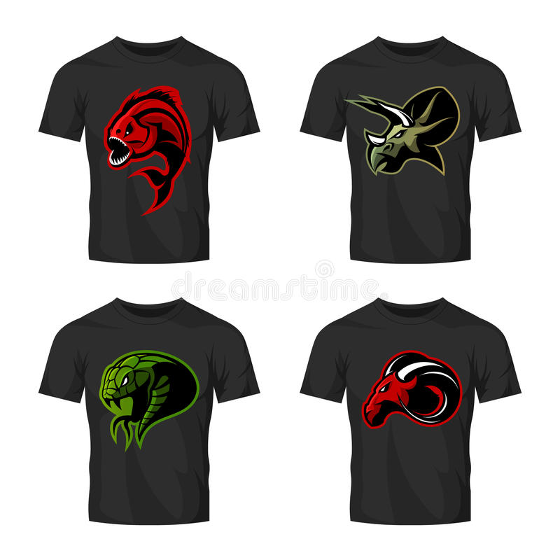 Le concept principal furieux de logo de vecteur de sport de piranha, de RAM, de serpent et de dinosaure a placé sur la maquette n illustration de vecteur