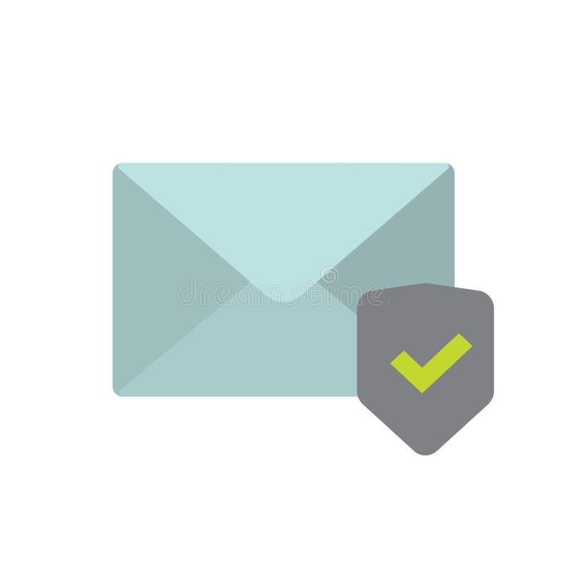 Le concept sûr de symbole de technologie de l'information, enveloppe d'email a protégé l'icône de vecteur de bouclier et de trait illustration libre de droits