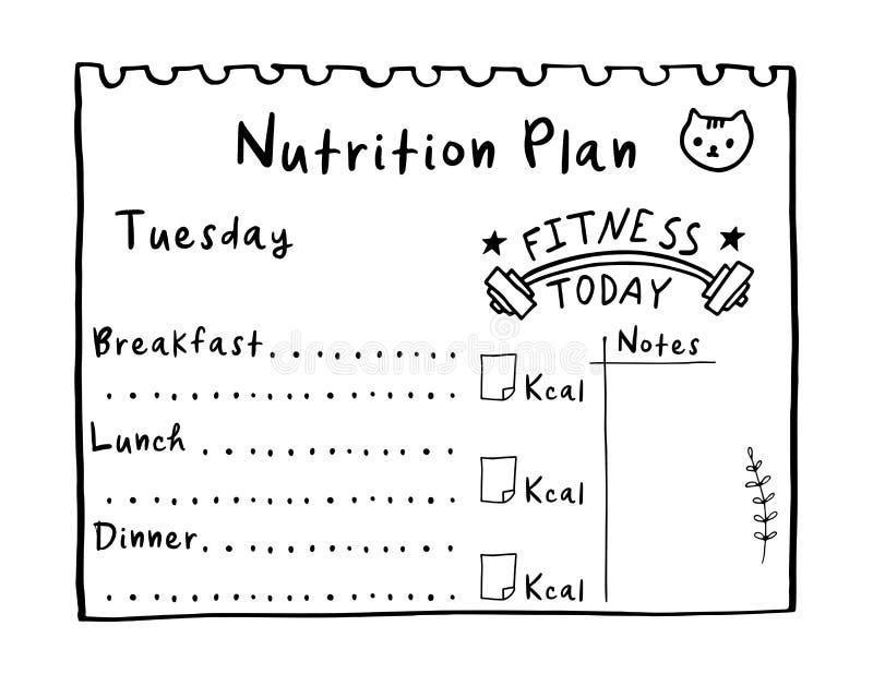 Le concept sain de repas pour la perte de poids, calories comptent dans kcal Illustration de bande dessinée de plan de nutrition illustration libre de droits