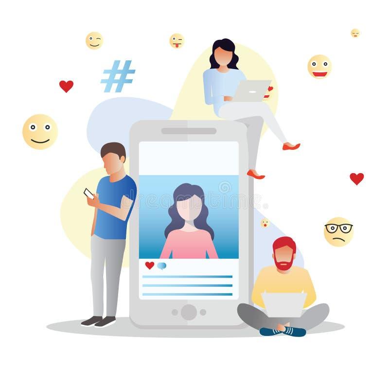Le concept social d'illustration de vecteur de médias, commenter comme et partager un courrier sur social, milieu peut être utili photo stock