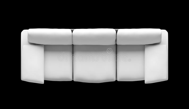 Le concepteur blanc trois de vue supérieure posent le sofa avec l'illustration de repos de bras illustration libre de droits