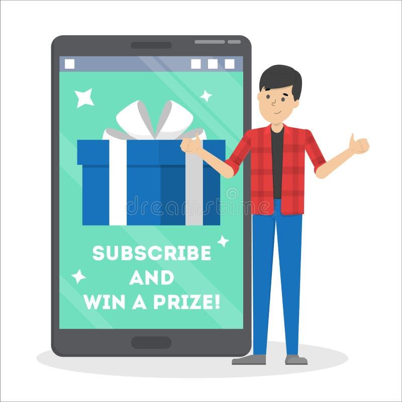 Le concours d'Internet souscrivent et gagnent le prix Internet illustration de vecteur