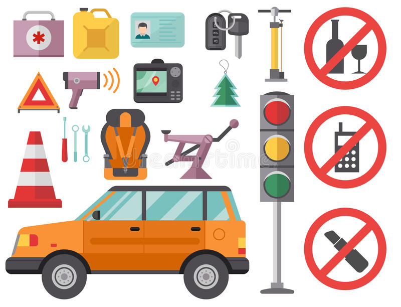 Le conducteur de voiture automatique de service d'équipements de véhicules de symbole d'icône d'automobiliste de transport usine  illustration stock