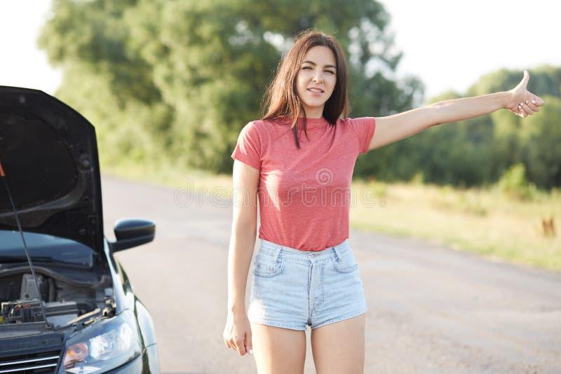 Le conducteur féminin désespéré fait de l'auto-stop sur la route, demande l'aide dans d'autres conducteurs, a pour brocken la voi photos libres de droits
