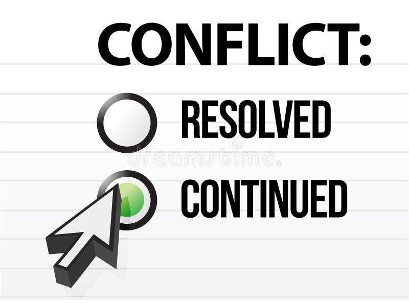 Le conflit continue la sélection de questions et réponses illustration de vecteur