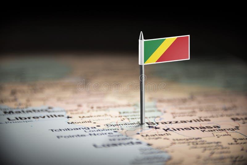 Le Congo a identifié par un drapeau sur la carte images libres de droits