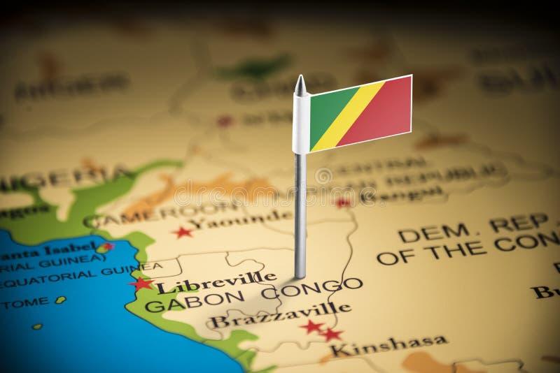 Le Congo a identifié par un drapeau sur la carte photographie stock libre de droits