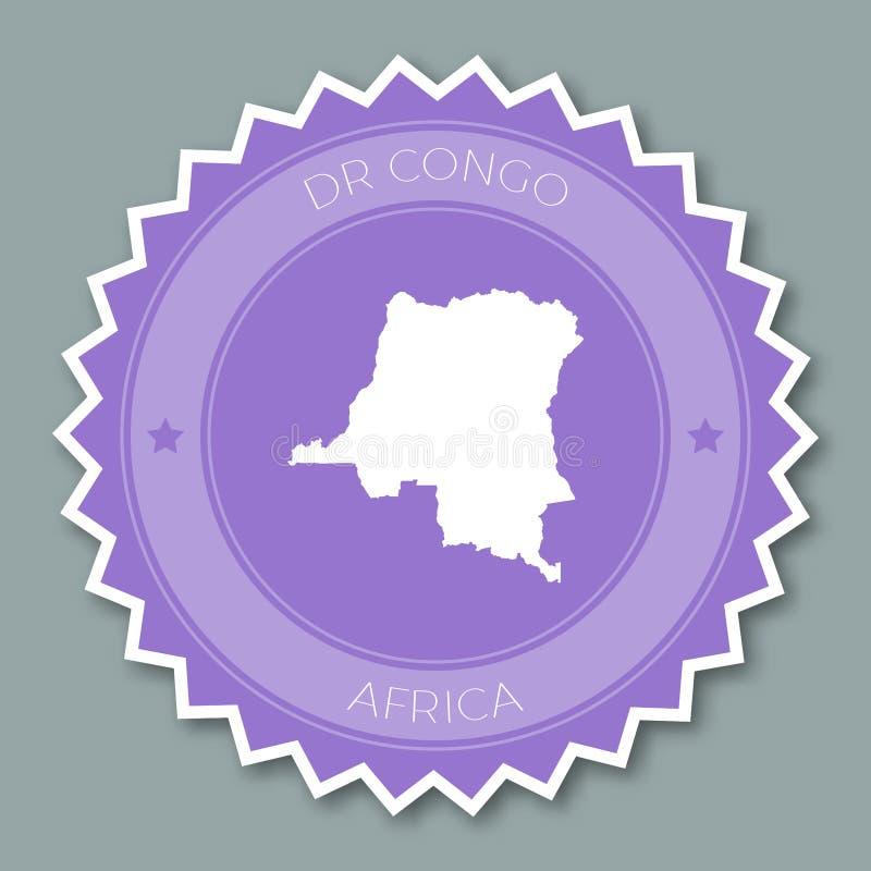 Le Congo, la République Democratic de l'insigne plat illustration stock