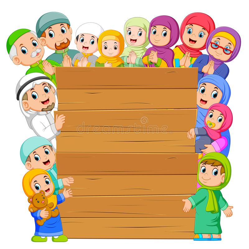 le conseil avec la famille musulmane autour de elle illustration de vecteur